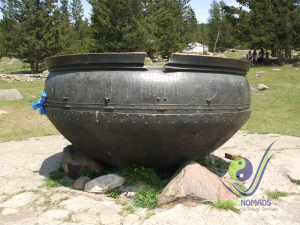 A massive cooking pot in Manzushir