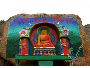 Carved Buddha in meditation temple