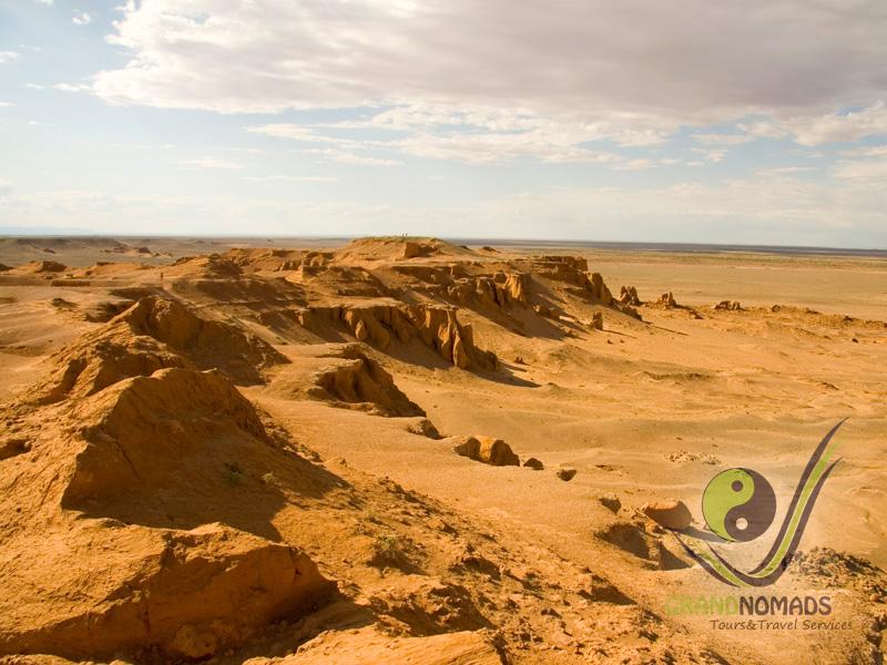 "Flight to the Gobi – ""Bayanzag"" Ancient Dinosaur Land and camel riding."
